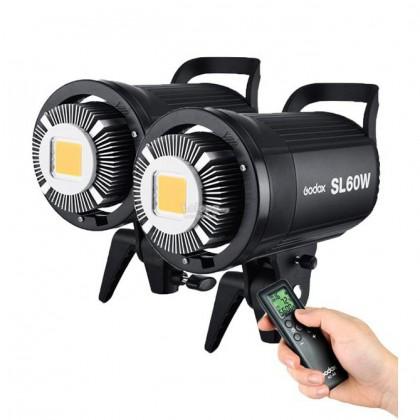 Godox SL-60W SL60W LED Video Light 2 Light Kit +60X90CM Softbox +2.6M Air Cushioned Stand