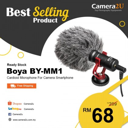 READY STOCK Original Boya BY-MM1 Cardioid Microphone for Camera Smartphone