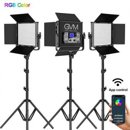 GVM 50RS RGB LED Video Light 3 Panel Kit Full Color 3200K~5600K Adjustable for Studio Photography with Barn-Door & Bag